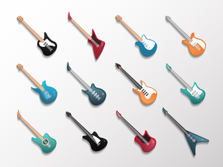 Electronic and acoustic guitars icon set