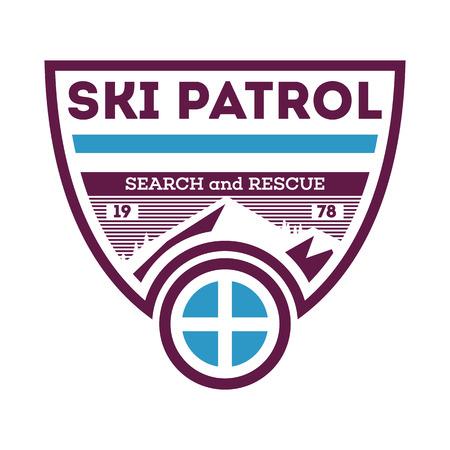 Ski patrol, search and rescue label Stock Photo