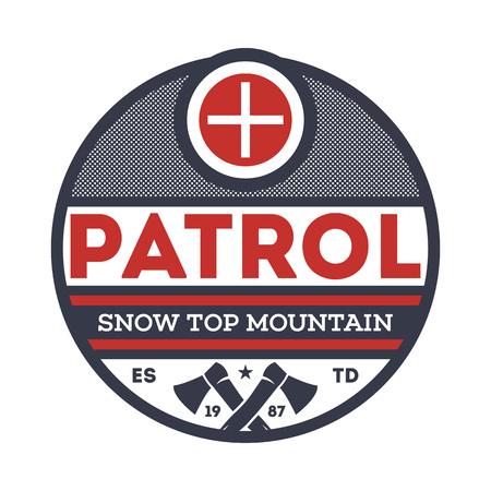Snow top mountain patrol vintage label