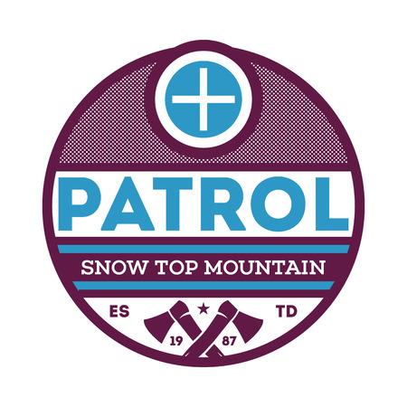 Snow top mountain patrol label