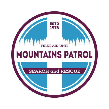 Mountains patrol, search and rescue label Stock Photo