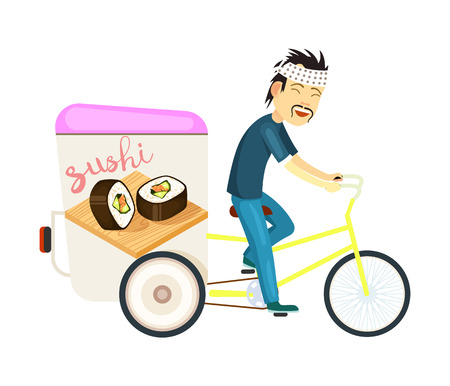 Sushi roll delivery icon with asian courier man on bicycle. Online order food on home, commercial shipping illustration. Restaurant food express delivery service Stock Photo