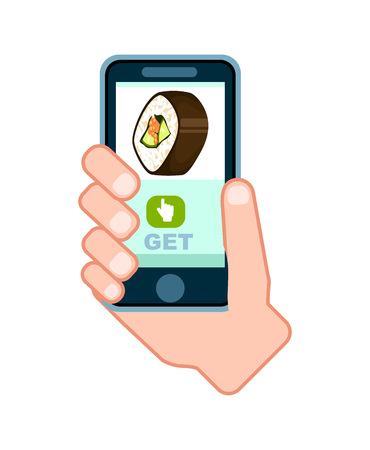 Sushi roll delivery service icon with phone in human hand. Smartphone screen with restaurant menu, online order food on mobile app illustration. Stock Photo