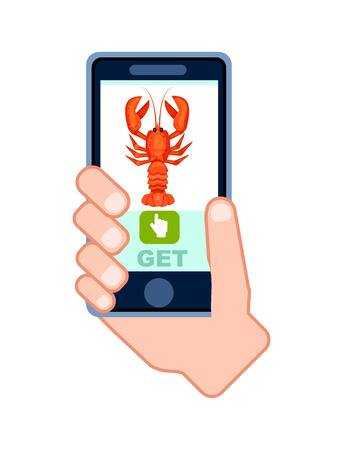 Natural seafood delivery service icon with phone in human hand. Smartphone screen with restaurant menu, online order food on mobile app illustration.