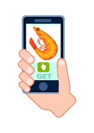 Online natural sea food delivery service icon with phone in human hand. Smartphone screen with restaurant menu, order food on mobile app illustration. Stock Photo