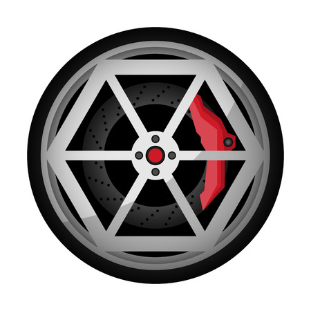 Car titanium rim icon. Consumables for car, auto service concept, wheel vehicle isolated on white background illustration. 版權商用圖片 - 112082950