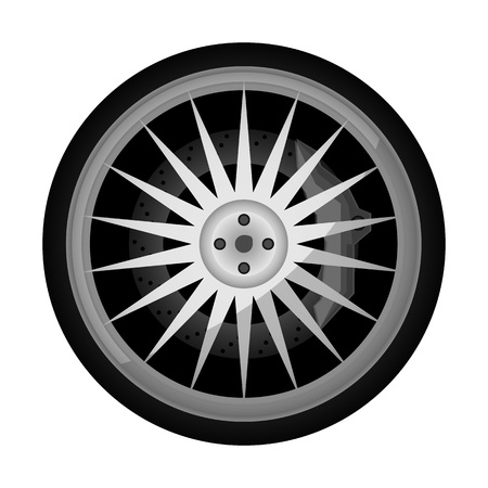 Sport car titanium rim icon. Consumables for car, auto service concept, wheel vehicle isolated on white background illustration.