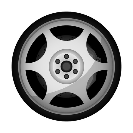 Side view sports racing car wheel icon. Consumables for car, auto service concept, wheel vehicle isolated on white background illustration.