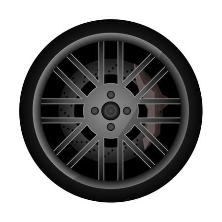Side view racing car wheel icon. Consumables for car, auto service concept, wheel vehicle isolated on white background illustration. 版權商用圖片