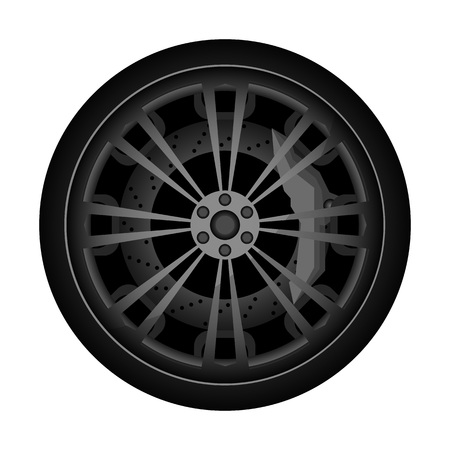Automobile titanium rim icon. Consumables for car, auto service concept, wheel vehicle isolated on white background illustration. 版權商用圖片