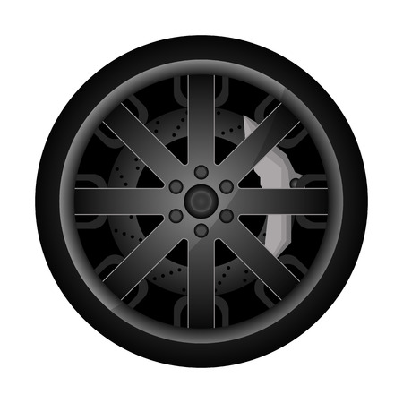 Car metal rim icon. Consumables for car, auto service concept, wheel vehicle isolated on white background illustration.