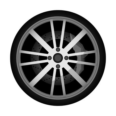 Side view modern car wheel icon. Consumables for car, auto service concept, wheel vehicle isolated on white background illustration. 版權商用圖片