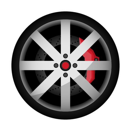 Side view sports car wheel icon. Consumables for car, auto service concept, wheel vehicle isolated on white background illustration. 版權商用圖片