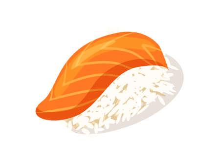 Sashimi with salmon icon isolated on white background illustration. Asian traditional seafood element.