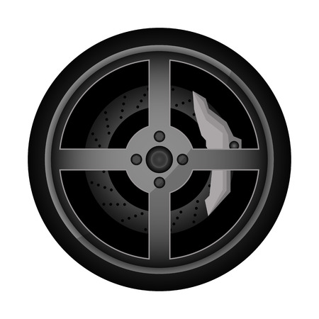 Road car rim icon. Consumables for car, auto service concept, wheel vehicle isolated on white background illustration. 版權商用圖片