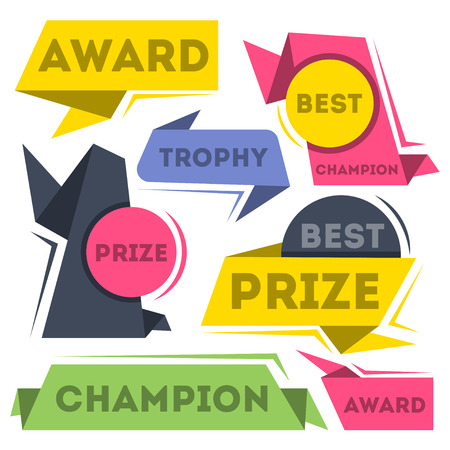 Award ribbon banners collection isolated on white background. Best champion labels, victory prize stickers, winner trophy decorative design elements. Champion achievement illustration. Foto de archivo