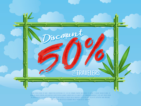 Discount 50% off for travelers poster. Summer proposition in bamboo frame on background of blue sky. Best offer advertisement for retail, seasonal shopping, sale promotion illustration.