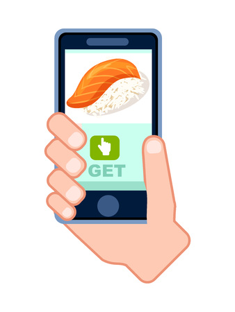 Asian fast food delivery service icon with phone in human hand. Smartphone screen with restaurant menu, online order sushi on mobile app illustration.