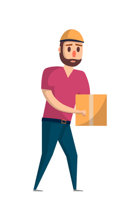 Courier with delivery box icon in flat style