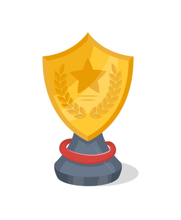 Golden trophy cup of shield shape