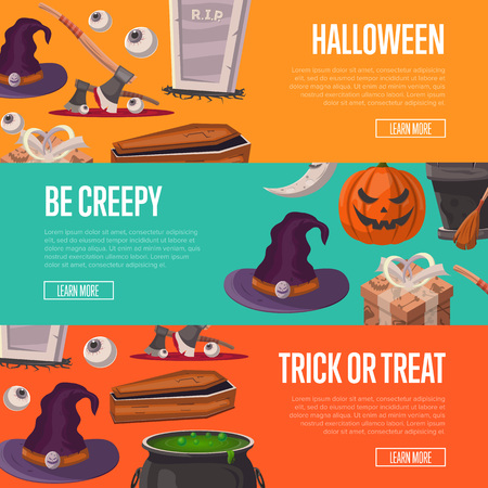 Trick or treat and be creepy halloween flyers Stock Photo