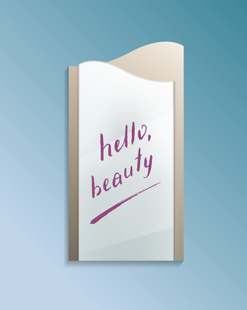 Hello beauty text on bathroom misted mirror Stock Photo