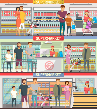 People shopping at supermarket banners Stock Photo