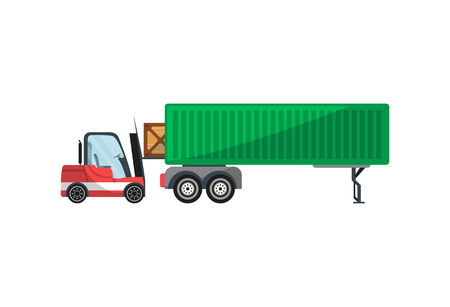 Forklift loading freight truck isolated icon