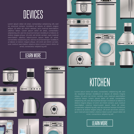 Kitchen automatic household devices posters