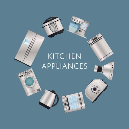 Modern kitchen electronic appliances poster