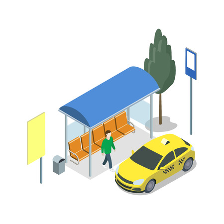 Taxi waiting station isometric 3D icon