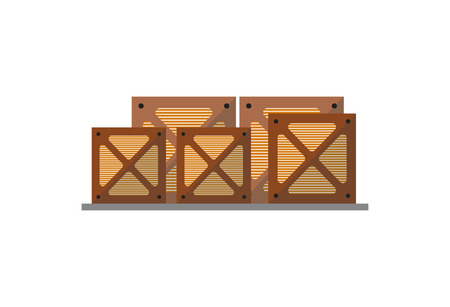 Wooden boxes on pallet icon