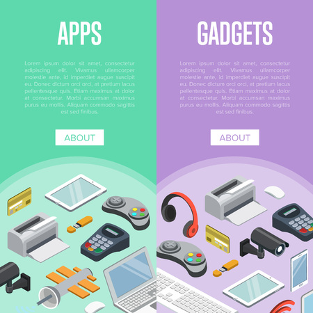 Gadgets and mobile apps isometric posters