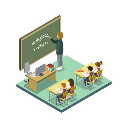 Mathematics lesson at school isometric icon 版權商用圖片