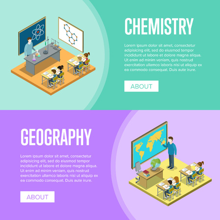 Geography and chemistry lessons at school
