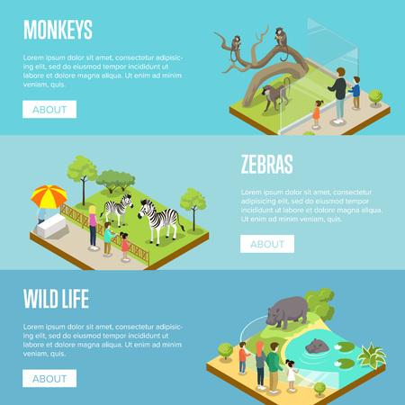 Public zoo isometric 3D posters set