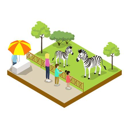 Cage with zebras isometric 3D icon 版權商用圖片