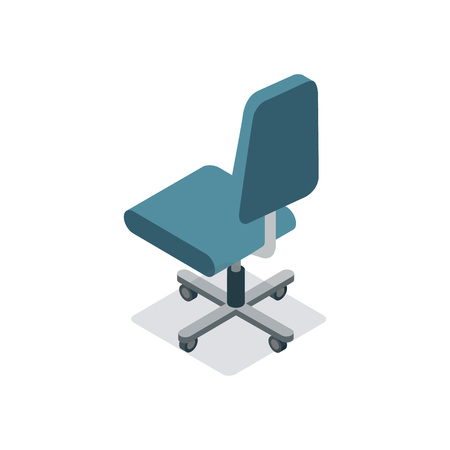 Empty office сhair with wheels isometric 3D icon