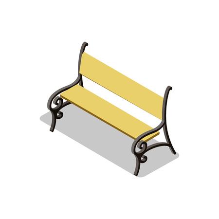 Elegant park wooden bench isometric 3D icon 版權商用圖片