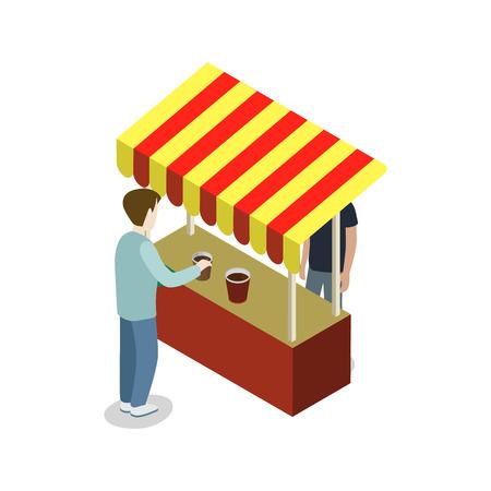 Street food store isometric 3D icon