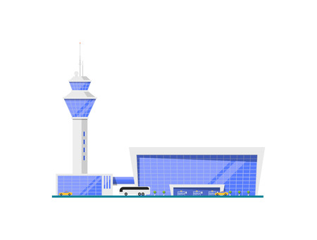 Airport glassy terminal with flight control tower