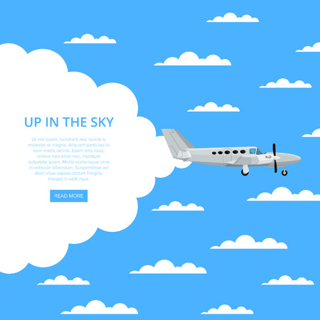 Up in the sky poster with propeller airplane 版權商用圖片