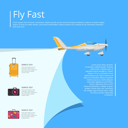 Fly fast poster with propeller airplane Stok Fotoğraf