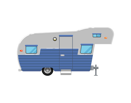 Camping trailer caravan isolated on white icon