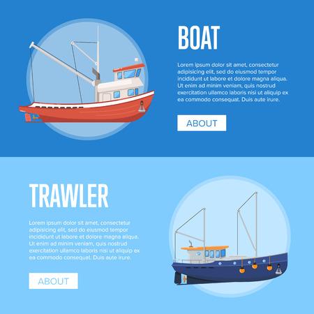 Fishing company flyers with boats 版權商用圖片