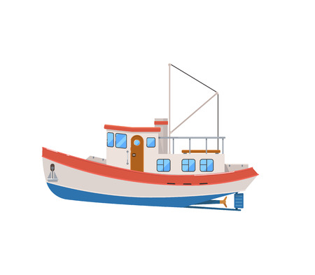 Commercial fishing trawler isolated on white icon