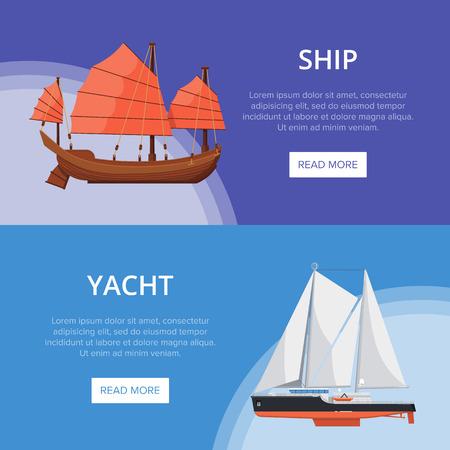 Sea yachts flyers with side view sailboats 版權商用圖片