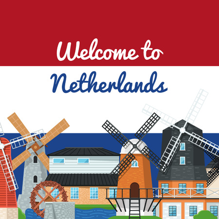 Welcome to Netherlands poster with windmills