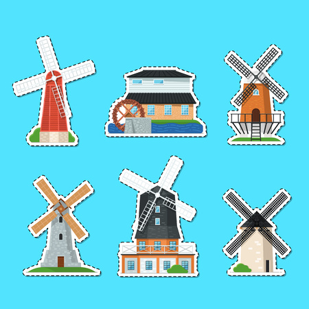 Traditional old windmill buildings isolated labels Banco de Imagens