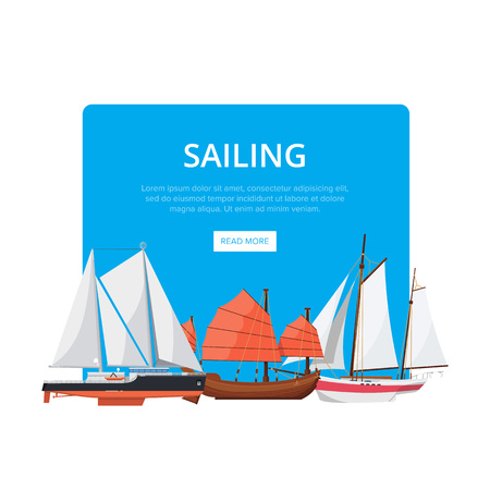 Sailing poster with side view sailboats Banco de Imagens